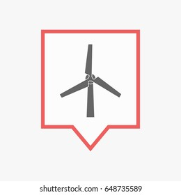 Illuatration of an isolated line art tooltip with a wind turbine