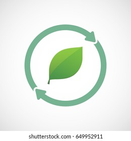 Illuatration of an isolated recycle  reuse icon with a green  leaf