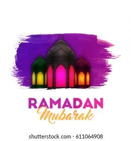 Illuminated arabic lanterns, Ramadan Mubarak background.