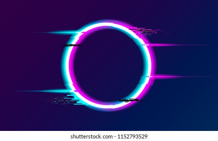 An illuminated circle with glitch and neon effect. Glow Design for Graphic Design - Banner, Poster, Flyer, Brochure, Card. Vector Illustration.