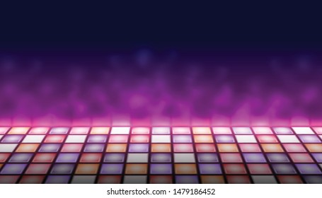 Illuminated dance floor a background vector illustration, 80s retro style disco empty dance floor, night club, party, music contest design element, an artistic performance surface template