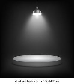 Illuminated Dark Stage Podium to Place Product Template on Black Background