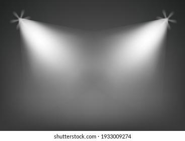 Illuminated empty stage with bright lights