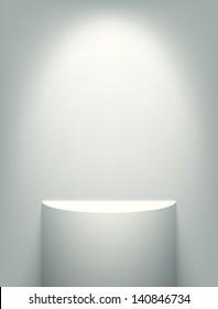 Illuminated exhibition shelf. EPS10 vector.
