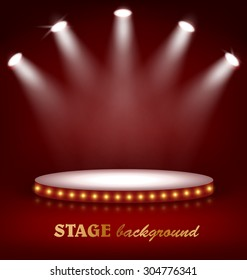 Illuminated Festive Stage Podium with Lamps on Red Background