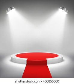 Illuminated Festive Stage Podium Scene with Red Carpet for Award Ceremony on White Background