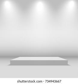 Illuminated festive stage podium scene. vector background