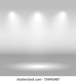 Illuminated festive stage scene. vector background