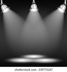 Illuminated Floor In Dark Room. Vector Illustration.