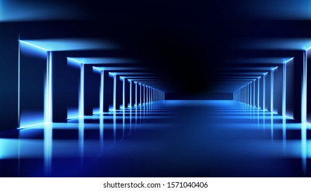 Illuminated hall. Dark room with brightly lit neon lamps. Lighting effects, show. Blue background. Vector illustration.