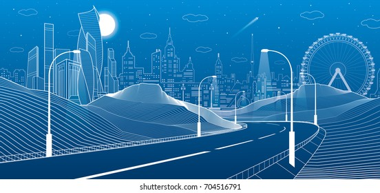Illuminated highway in mountains. Infrastructure illustration. Modern city at background, tower and skyscrapers, business buildings, ferris wheel. Night scene. White lines. Vector design art