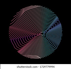 Illuminated holographic circle with glitched wavy texture. Retrofuturistic illustration in 80s-90s synthwave and retrowave chromatic spectrum colors.