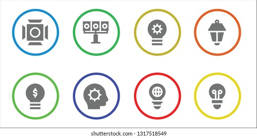 illuminated icon set. 8 filled illuminated icons.  Collection Of - Scenic Illumination, Lightbulb, Illumination, Inspiration, Bulb, Lamppost