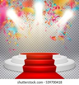 Illuminated light festive stage podium scene. Red circle podium on studio background with falling confetti. EPS 10 vector file included