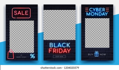 Illuminated neon signs Black friday Cyber monday sale frame light electric banners glowing. eb online shop sales concept.Neons sign with ready to use buttons Shop Buy Now