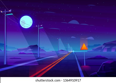 Illuminated at night, empty highway road in dessert cartoon vector. Row of power line pillars with lights, two line path with separate strips goes far to horizon in rocky, deserted area illustration