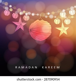 Illuminated paper lanterns and stars with lights, vector illustration background for muslim community holy month Ramadan Kareem