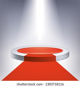 Illuminated podium, red carpet. Award pedestal, presentation stand, vector design object for you project
