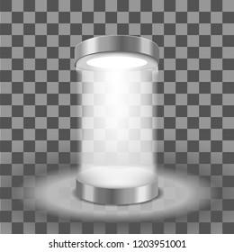 Illuminated round podium
