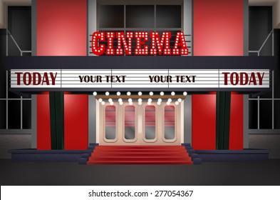 Illuminated sign in a retro-style cinema, illuminated cinema marquee