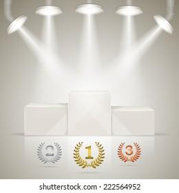 Illuminated sport winners pedestal with laurel awards for winners.