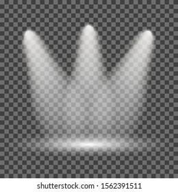 Illuminated spotlight on transparent background – for stock
