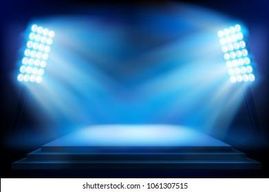 Illuminated stage on the stadium. Vector illustration.