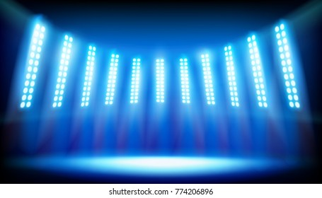 Illuminated stage on the stadium. Vector illustration.