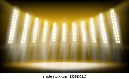 Illuminated stage on the stadium. Yellow spotlights on the dark background. Vector illustration.