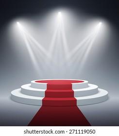 Illuminated stage podium for award ceremony. Vector illustration.