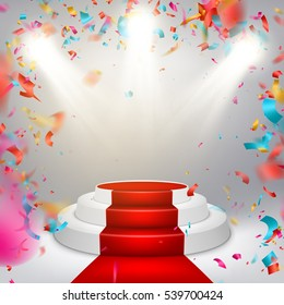 Illuminated stage podium with confetti and red carpet. EPS 10 vector file included