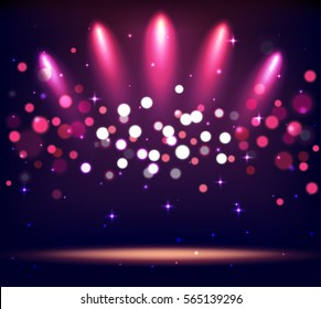 Illuminated Stand Stage Scene Podium with Spot Lights on Violet Background