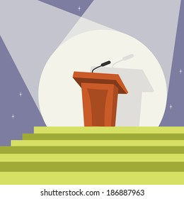 Illuminated tribune podium with microphone in spotlight and stairs template print vector illustration