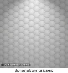 Illuminated White Hexagon Grid Vector Pattern