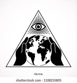 illuminati conspiracy theory illustration all seeing stock vector