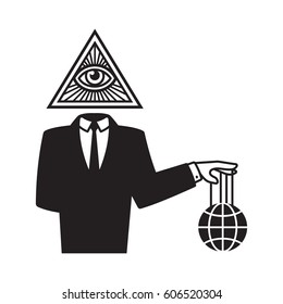 Illuminati conspiracy theory illustration. Man in black business suit with All Seeing Eye symbol holding world on strings.