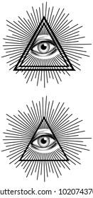 Illuminati eye with pyramid and rays of light for secret society conspiracy theory
