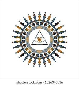 illuminati pyramid icon inside arabesque badge background. arabic decoration.