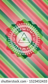 illuminati pyramid icon inside christmas style emblem.