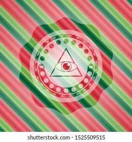 illuminati pyramid icon inside christmas colors badge.