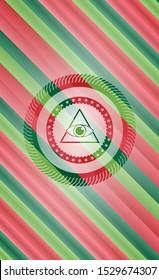 illuminati pyramid icon inside christmas badge background.