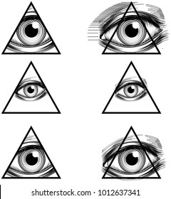 Illuminati secret society conspiracy theory illustration with All Seeing Eye symbol in pyramid triangle