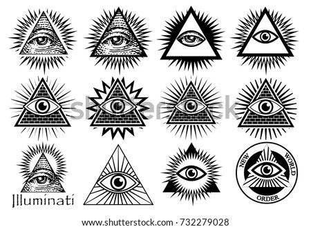 Illuminati Symbols Masonic Sign All Seeing Stock Vector Royalty