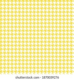 Illuminating Yellow Houndstooth Tartan Tweed Vector Pattern Tile. 2021 Color Trend. Fashion Textile Print. Dogs-tooth Check Fabric Textures. Pattern Tile Swatch Included.