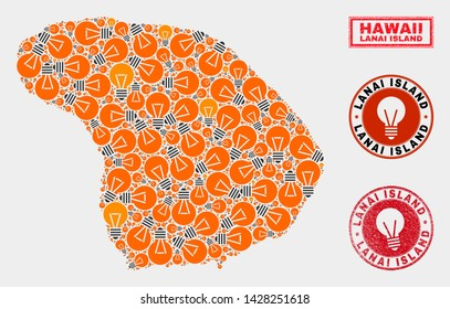 Illumination bulb mosaic Lanai Island map and rubber round stamp seals. Mosaic vector Lanai Island map is created with electric bulb symbols. Concept for patent services. Orange and red colors used.