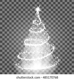 Illumination Lights Shiny Christmas tree Isolated on Transparent Background. White tree as symbol of Happy New Year, Merry Christmas holiday celebration. Bright light decoration design. Vector.