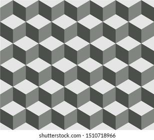 illusion 3d box tiles pattern