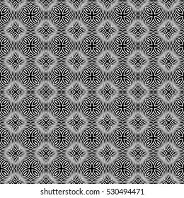 illusion art. seamless floral pattern. vector illustration. black, white color. for invitation, wallpaper