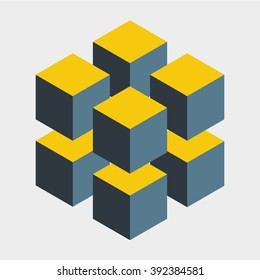 Illusion cube constructed of several blocks. Isometric cubes for designing.