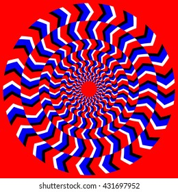 Illusion Hypnotic Of Rotation Vector. Perpetual Rotation Illusion. Background With Bright Circle Optical Rotation. Psychedelic Optical Spin Cycle Illustration